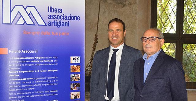 Renato Marangoni, direttore della Libera Artigiani e Angelo Valota, vice presidente Artfidi Lombardia (© Cremaonline.it)